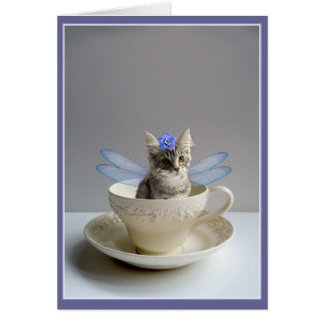 Cute Cat Fairy in Teacup greeting or note card