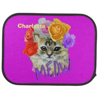 Cute Cat Flowery Rose Headdress Meow Personalized Car Mat