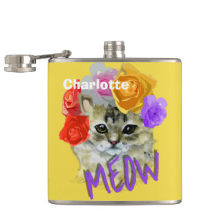 Cute Cat Flowery Rose Headdress Meow Personalized Hip Flask