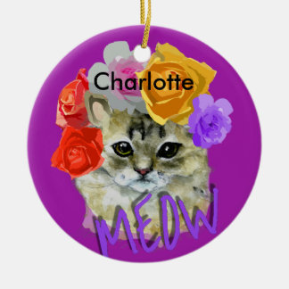 Cute Cat Flowery Rose Headdress Meow Personalized Round Ceramic Ornament
