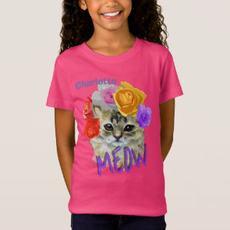 Cute Cat Flowery Rose Headdress Meow Personalized T-Shirt