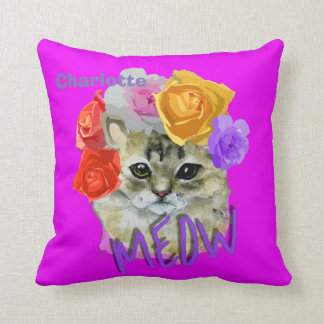 Cute Cat Flowery Rose Headdress Meow Personalized Throw Pillow