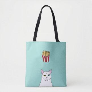 Cute Cat French Fries cartoon Tote Bag