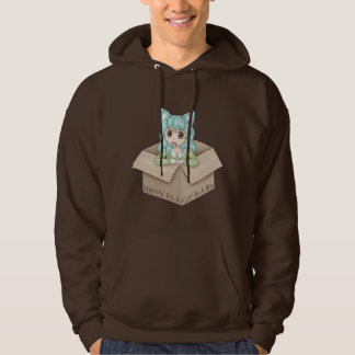 Cute Cat Girl In A Box Hoodie