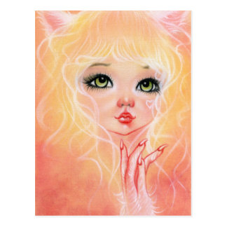 Cute Cat Girl Pink Postcard