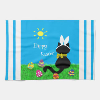 Cute Cat Happy Easter Stripes Kitchen Towel