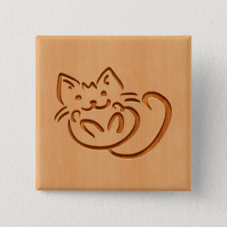 Cute cat illustration engraved on wood design 2 inch square button
