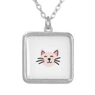 Cute cat illustration silver plated necklace