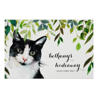 Cute Cat in Greenery with Add Name Good Vibes Only Poster
