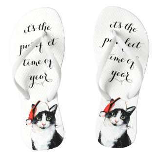 Cute Cat in Santa Hat Purrfect Christmas Flip Flops