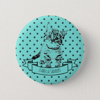 Cute cat kitten | all-over paw print on turquoise 2 inch round button