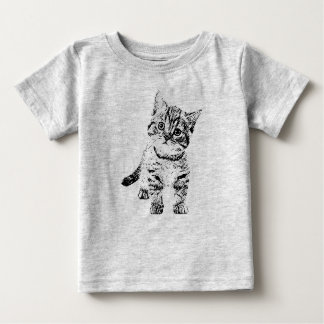 Cute cat kitten | black graphic pen baby T-Shirt
