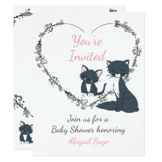 Cute Cat, Kitten, Flower Heart Baby Shower Invite