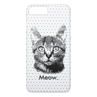 Cute Cat Kitten Meow Hand Drawn Polka Dots iPhone 8 Plus/7 Plus Case