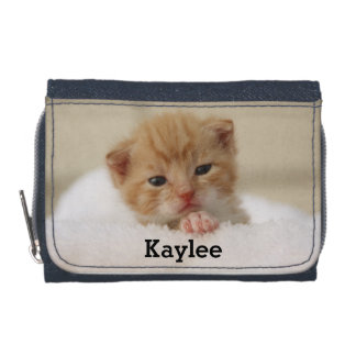 Cute Cat Kitten Personalized Girls Wallet