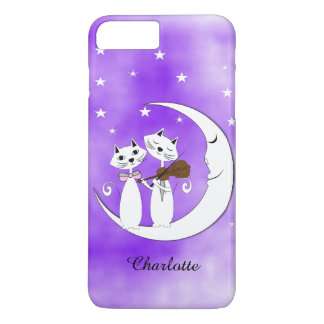 Cute Cat Lovers On Crescent Moon Personalized iPhone 7 Plus Case