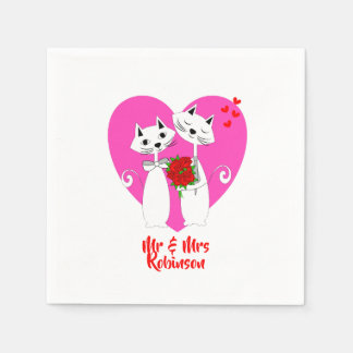 Cute Cat Lovers Purrr..fect Valentine Wedding Napkin