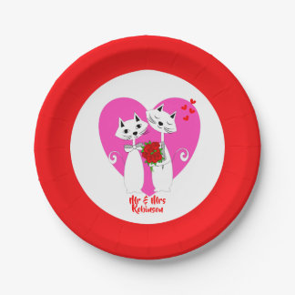 Cute Cat Lovers Purrr..fect Valentine Wedding Paper Plate