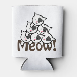 Cute Cat(Meow)black Can Cooler