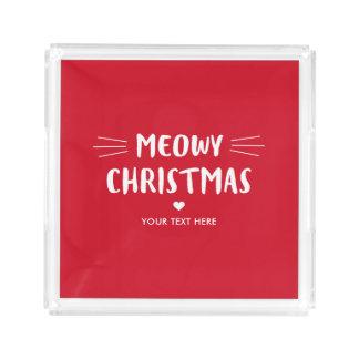 Cute Cat Meowy Christmas |  Holiday Acrylic Tray