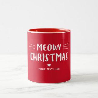 Cute Cat Meowy Christmas | Red Holiday Two-Tone Coffee Mug