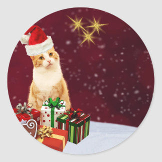 Cute Cat Merry Christmas Greetings Classic Round Sticker