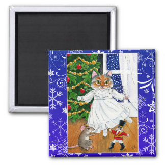 Cute cat, Nutcracker ballet, Christmas, mouse Magnet