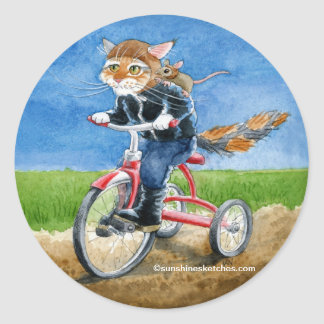 Cute cat on tricycle cartoon sticker