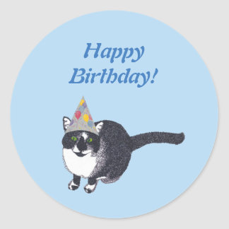 Cute Cat Party Hat Happy Birthday Stickers