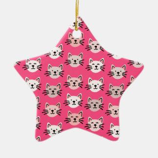 Cute cat pattern in pink ceramic ornament