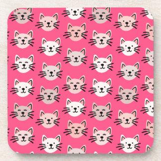 Cute cat pattern in pink coaster