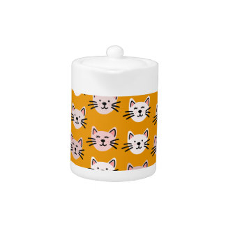 Cute cat pattern in yellow mustard