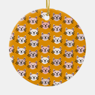 Cute cat pattern in yellow mustard ceramic ornament