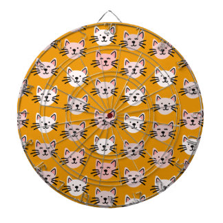 Cute cat pattern in yellow mustard dartboard