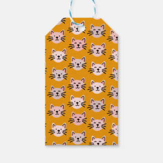 Cute cat pattern in yellow mustard gift tags