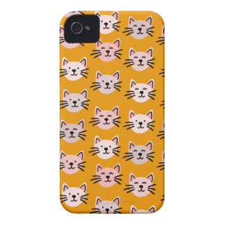 Cute cat pattern in yellow mustard iPhone 4 cover