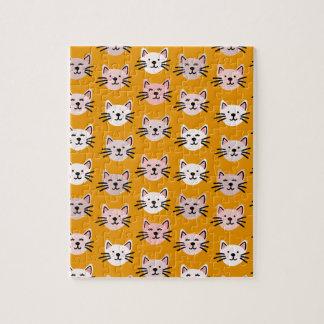 Cute cat pattern in yellow mustard jigsaw puzzle