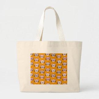 Cute cat pattern in yellow mustard large tote bag