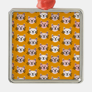 Cute cat pattern in yellow mustard metal ornament