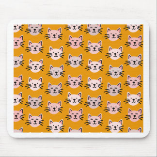 Cute cat pattern in yellow mustard mouse pad