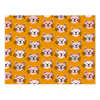 Cute cat pattern in yellow mustard postcard