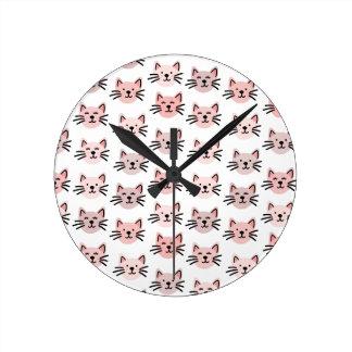 Cute cat pattern round clock