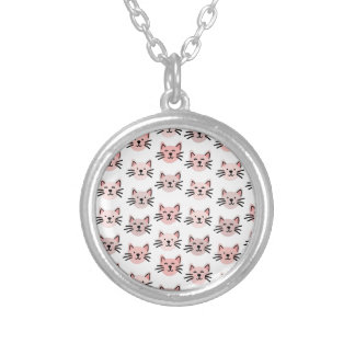 Cute cat pattern silver plated necklace