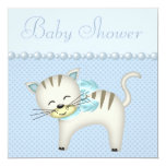"""Cute Cat, Pearls & Hearts Blue Baby Boy Shower 5.25"""" Square Invitation Card"""