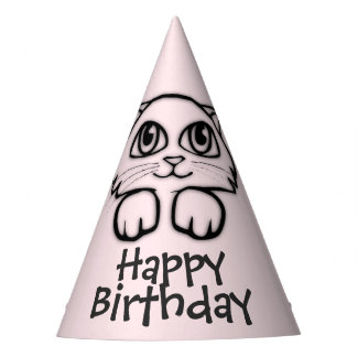 Cute Cat Peeking Pink Birthday Party Hat