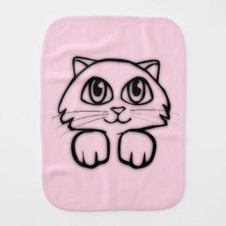 Cute Cat Peeking Pink Burp Cloth