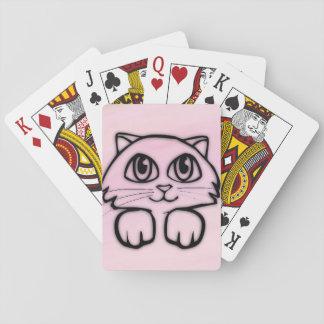 Cute Cat Peeking Pink Playing Cards