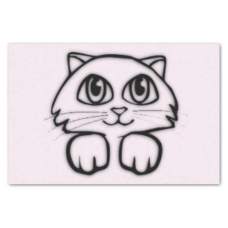 Cute Cat Peeking Pink Tissue Paper