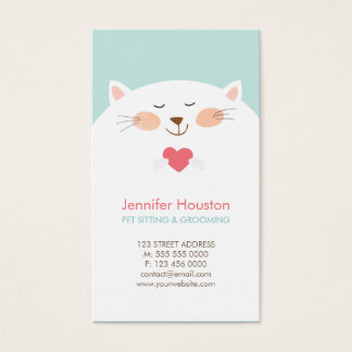 Cute Cat Pet Sitting Vet Clinic Business Card