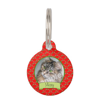 Cute Cat Photo on Red Fish and Bones Pattern Pet ID Tag